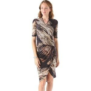 Helmut Lang Drift Print Dress Wool Jersey Rusched